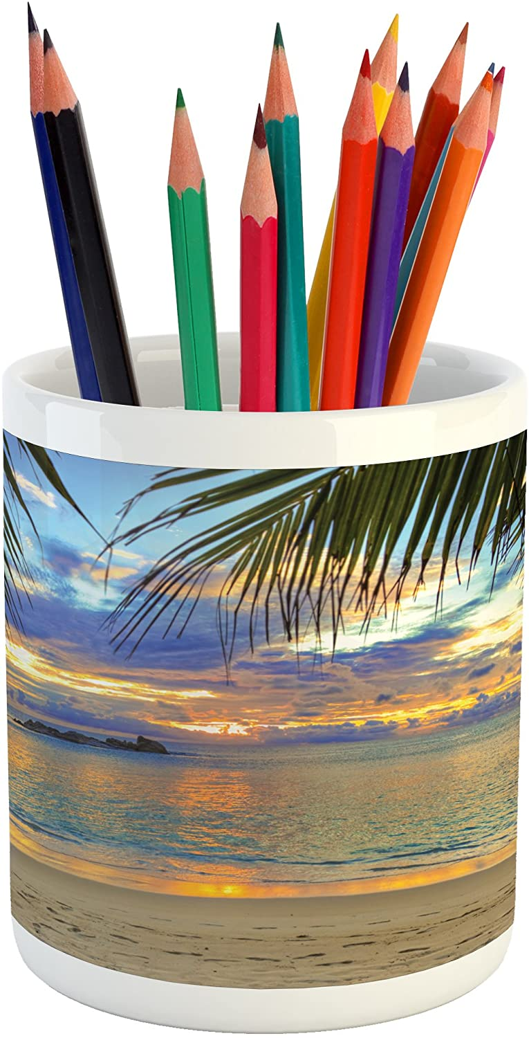 Lunarable Coastal Pencil Pen Holder, Sunset at The Beach Rumbling Ocean Palm Trees Travel Locations Picture, Printed Ceramic Pencil Pen Holder for Desk Office Accessory, Sky Blue Yellow Green