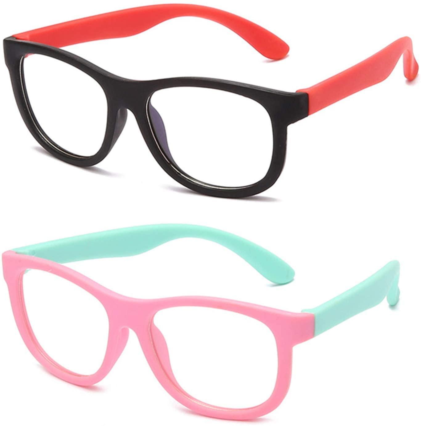 2PCS Kids Blue Light Blocking Glasses for Boys Girls, Rubber Flexible Frame,for Age 3-12 (Pink Green/Black Green)