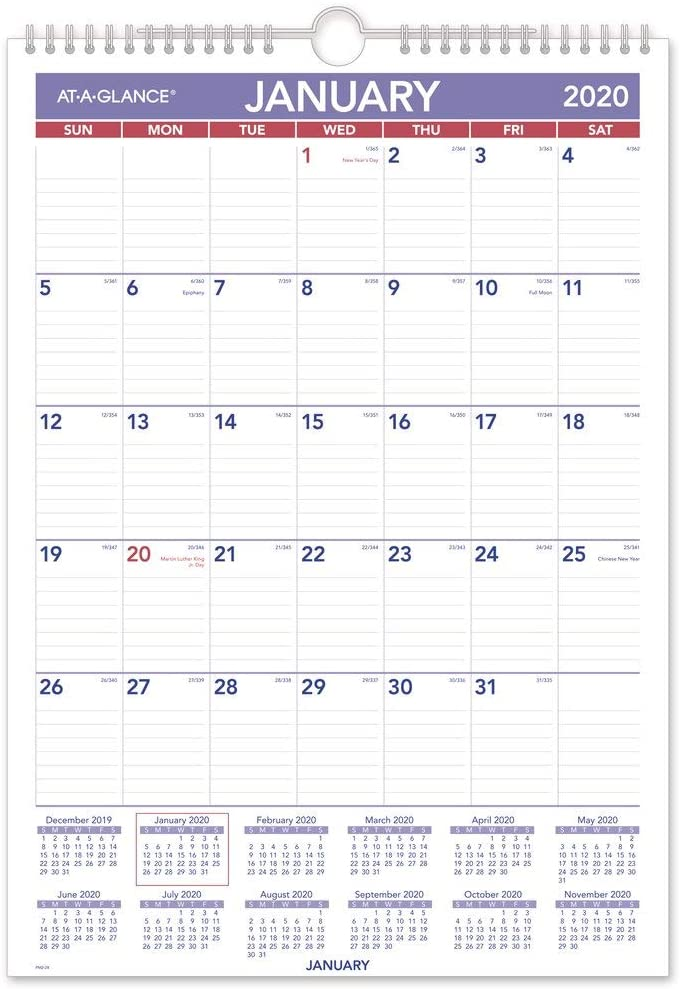 AT-A-GLANCE 2020 Monthly Wall Calendar, 12