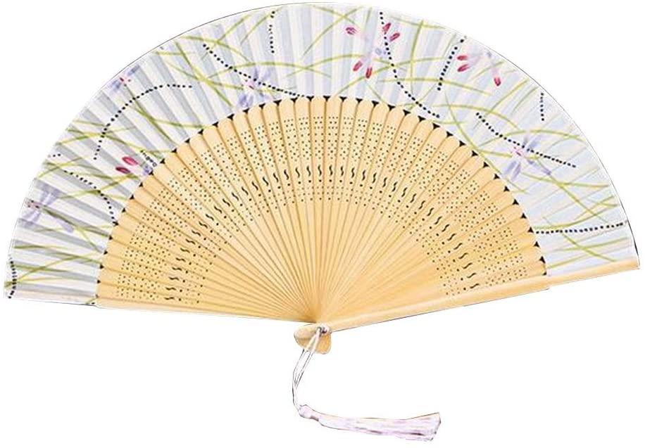 24station [W] Women Hand Held Silk Folding Fan Ladies Vintage Folding Fan
