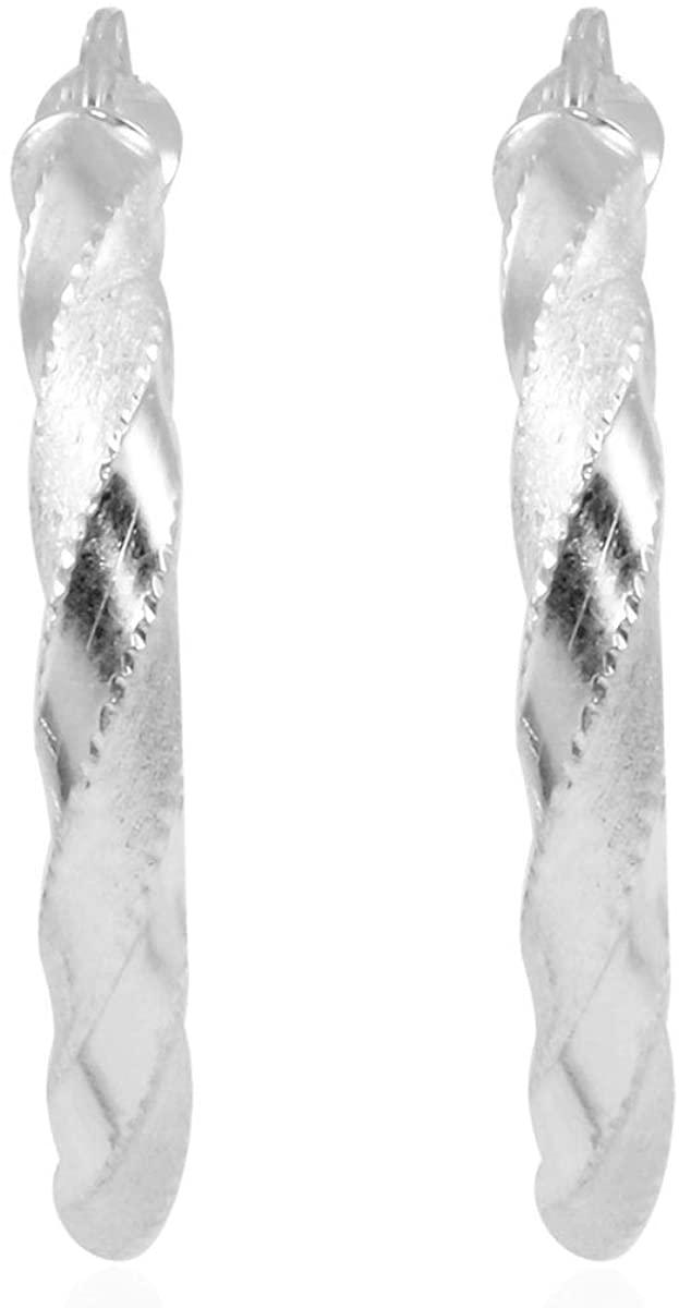 925 Sterling Silver Twisted Hoops Hoop Earrings Fashion Jewelry for Women
