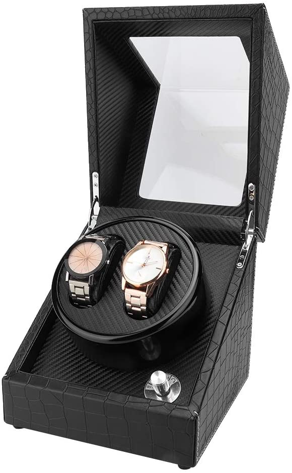 Sugoyi Watch Winder Box, 2+0 Automatic Watch Winder Box with Quiet Motor for Wristwatch Mechanical Watch (100-240V US Plug)
