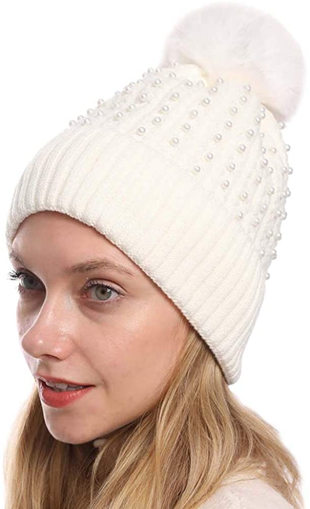 Kangqifen Women Winter Cable Knit Slouchy Beanie with Pompom Pearl Fleece Lined Solid Color Hat Warm Soft Ski Cap