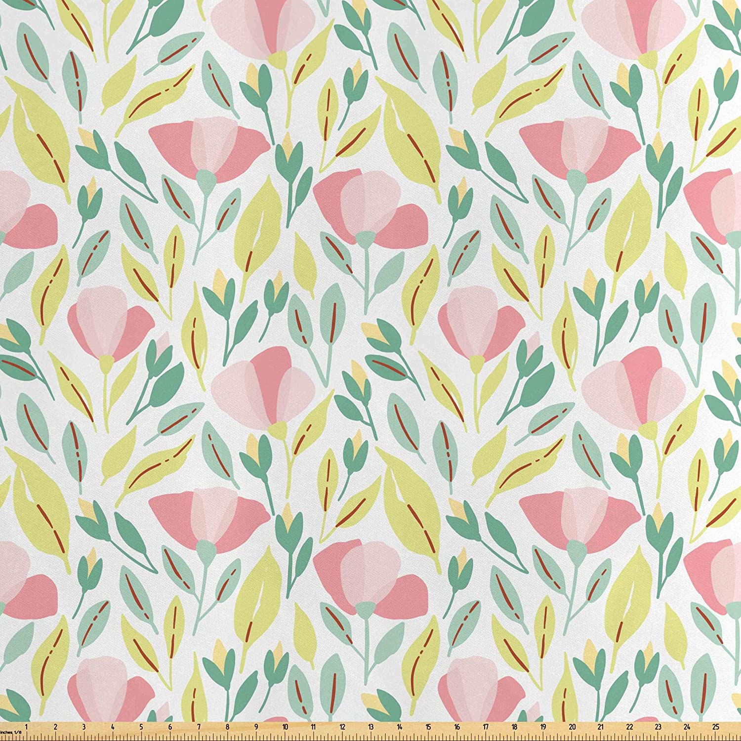 Lunarable Gardening Fabric by The Yard, Abstract Illustration of Wild Flowers Herbs Pink Color Poppy Flowers and Buds, Decorative Satin Fabric for Home Textiles and Crafts, 1 Yard, Multicolor