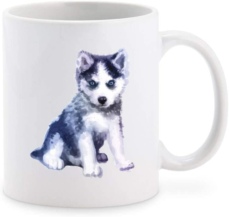 Watercolor Furry Husky Puppy Dog Coffee Mug Tea Cup Novelty Gift Mugs 11 oz