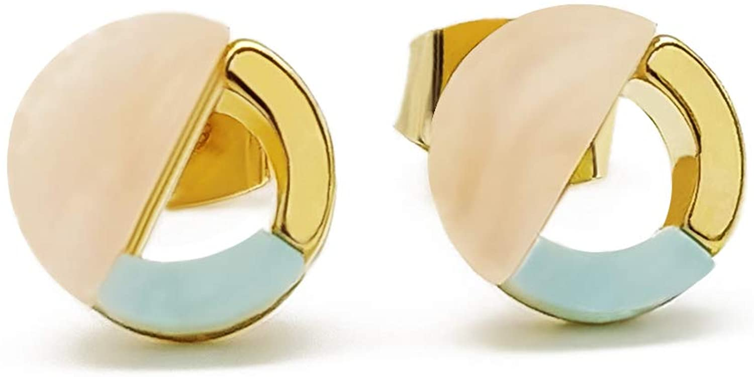 ECCLAVE Geometric Circle Shape Marble Acrylic Gold-plated Base Hypoallergenic Stud Earrings for Women