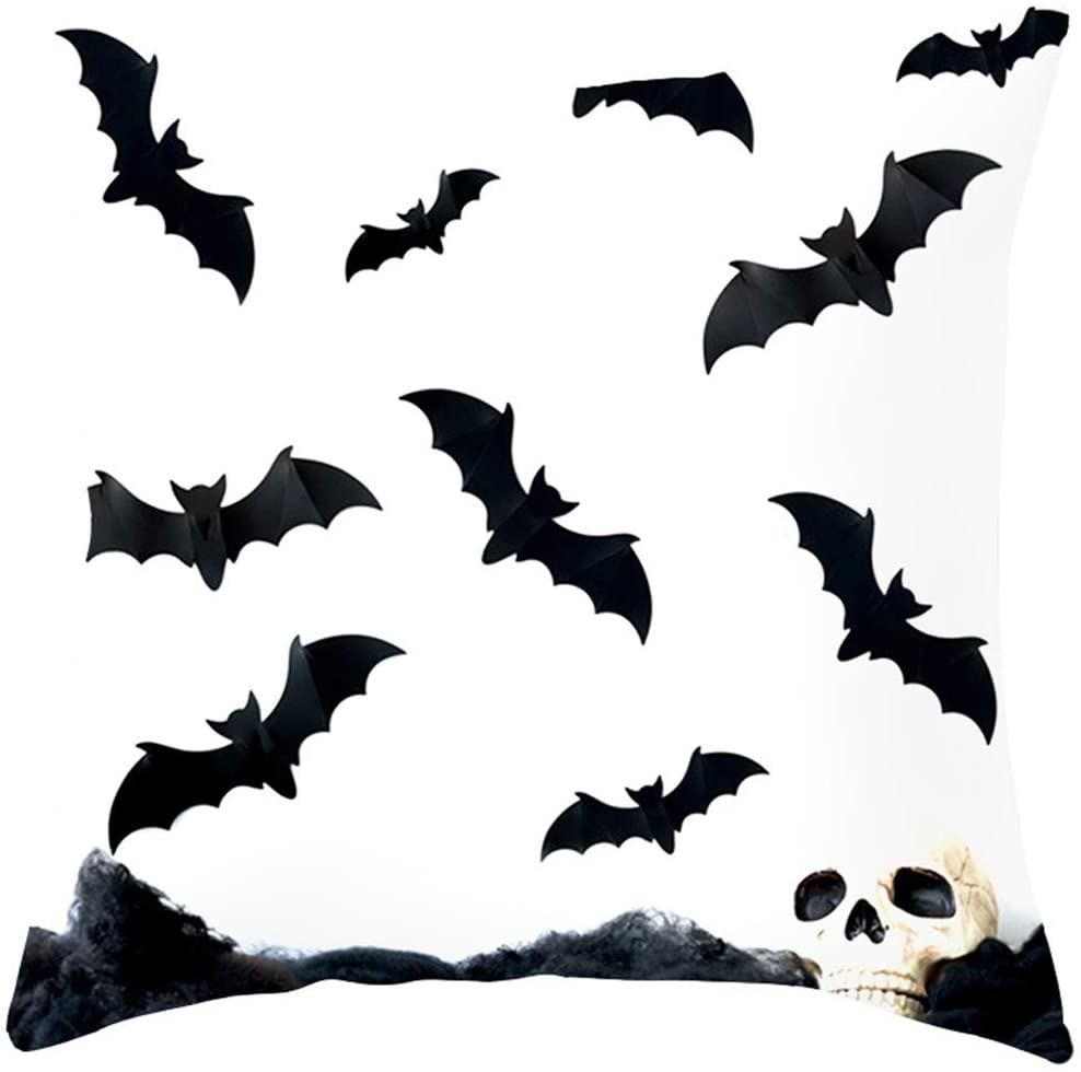 Halloween Ghost Witch Pumpkin Cushion Cover Skull Pillow Case Decor Bed Pillows for Sleeping Hypoallergenic Side and Back Sleeper with Soft Premium Plush Fiber Fill Size 4545cm (K)