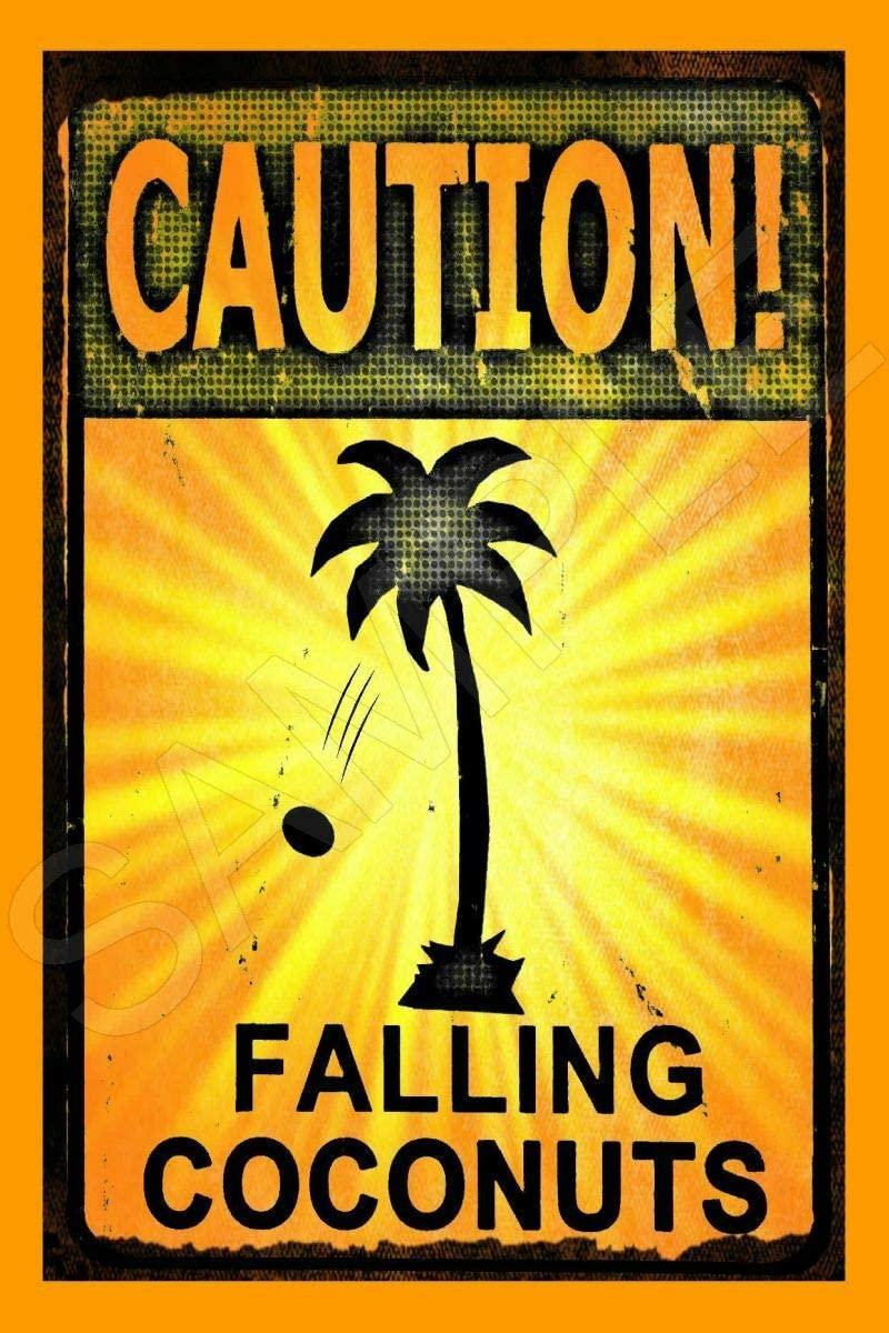 Falling Coconuts Made in Hawaii Metal Sign 8x12 Tiki Bar Beach Hot Tub
