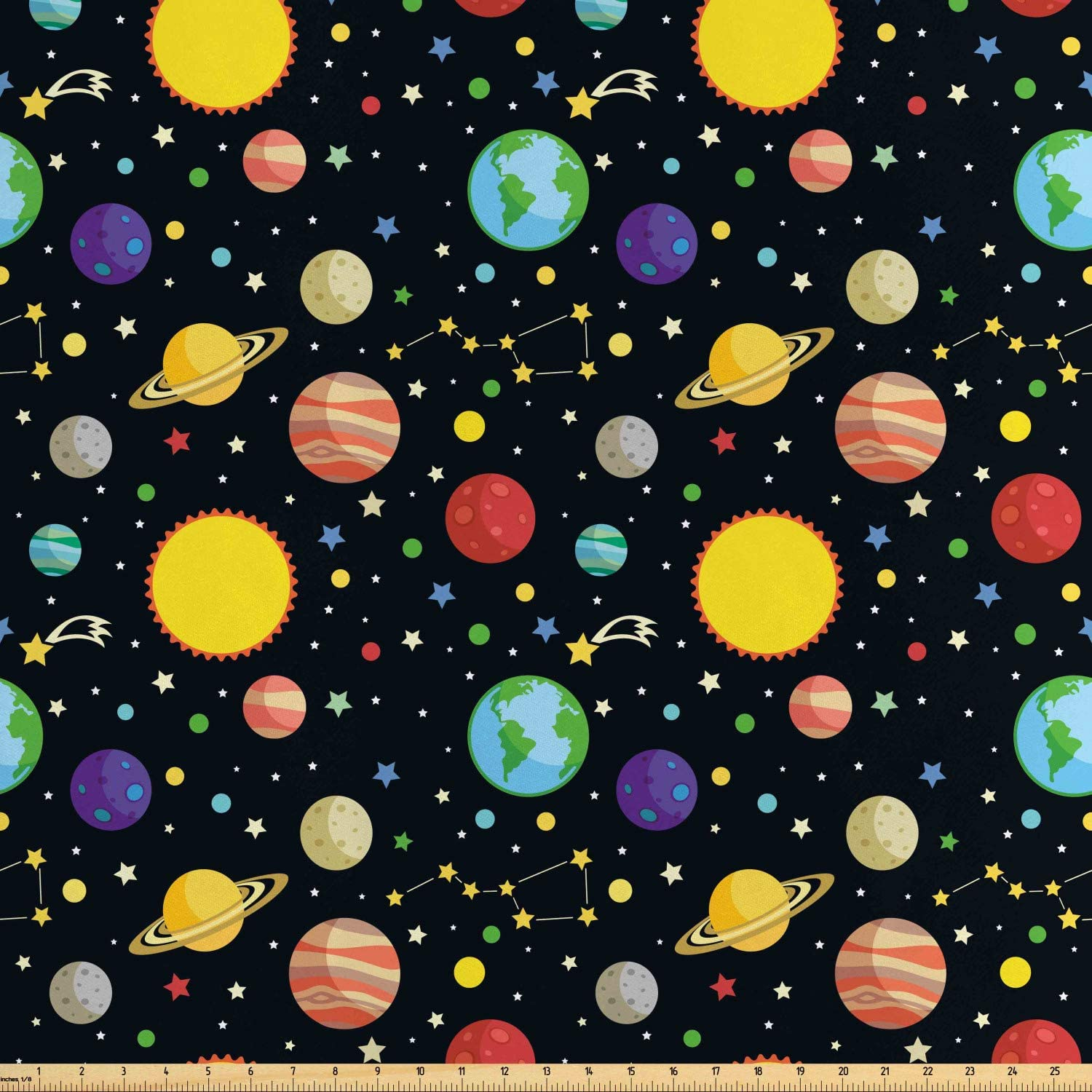 Ambesonne Space Fabric by The Yard, Comets and Constellations Stars with Polka Dots Earth Sun Saturn Mars Solar System, Decorative Satin Fabric for Home Textiles and Crafts, Multicolor