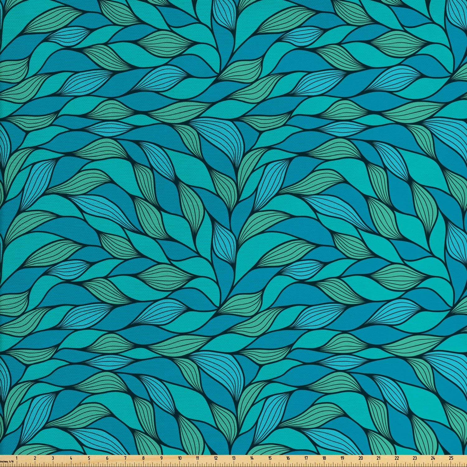 Ambesonne Teal Fabric by The Yard, Abstract Wave Design with Different Colors Ocean Themed Marine Life Pattern Print, Decorative Fabric for Upholstery and Home Accents, 3 Yards, Mint Green