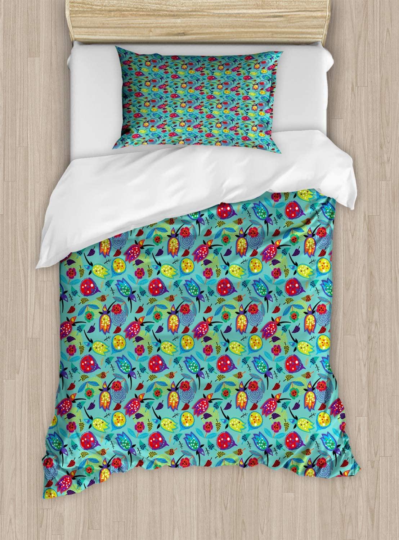 Lunarable Botanical Duvet Cover Set, Doodle Forest Blossoming Childish Hand Drawn Tulip Flowers Pattern, Decorative 2 Piece Bedding Set with 1 Pillow Sham, Twin Size, Vermilion Purple Seafoam