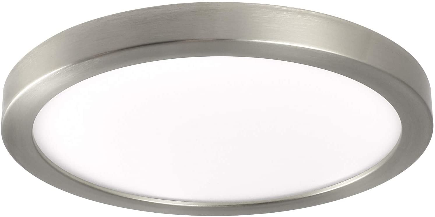 Luxrite 7 Inch Slim Recessed LED Flush Mount Ceiling Light, 15W, Dimmable, 5000K Bright White, 1000 Lumens, Energy Star, Wet Rated, Recessed Can or Junction Box Installation, Brushed Nickel Trim