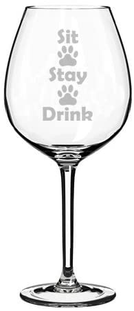 Wine Glass Goblet Funny Dog Cat Animal Lover Sit Stay Drink Paw Prints (20 oz Jumbo)