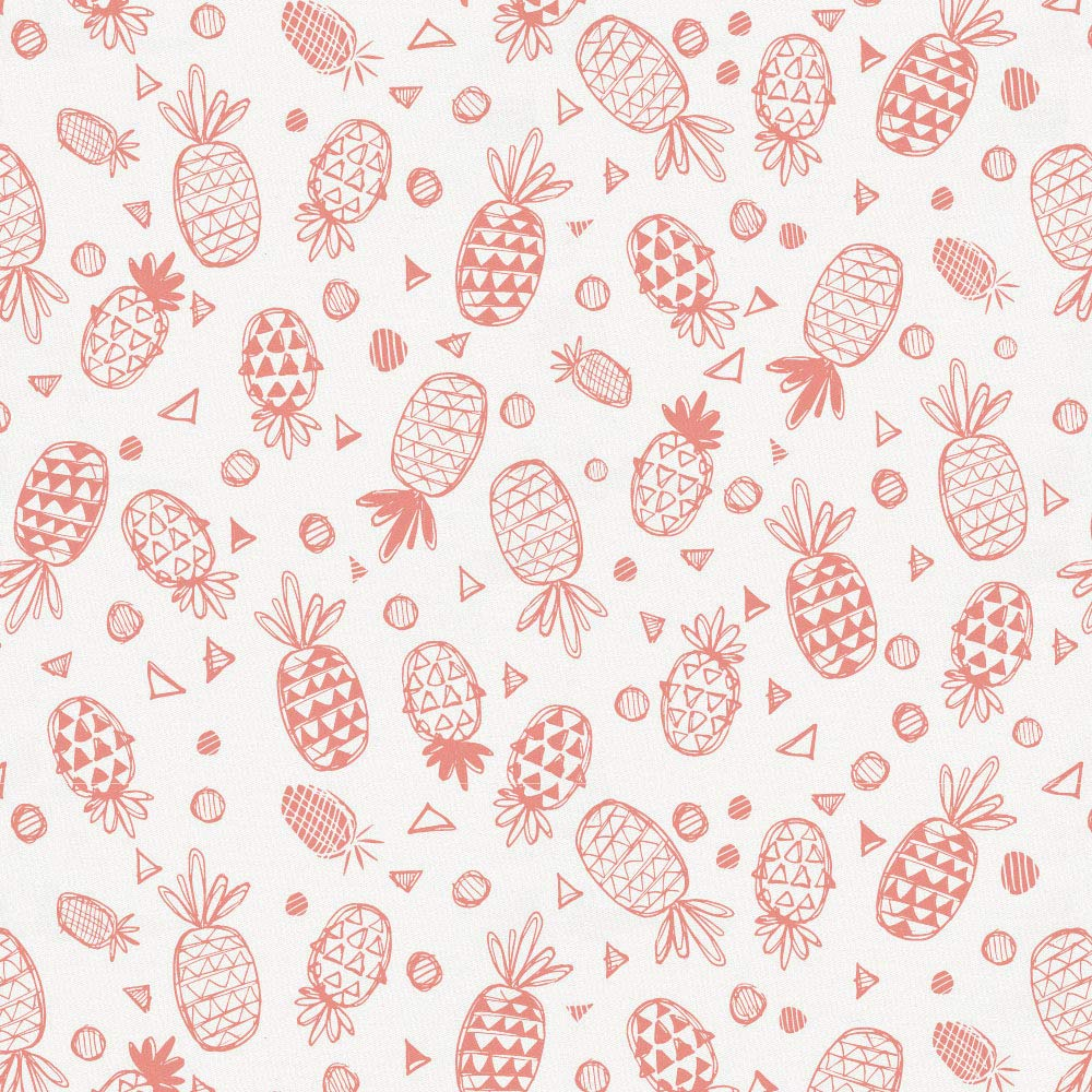 Carousel Designs Light Coral Little Pineapples Fabric by The Yard - Organic 100% Cotton