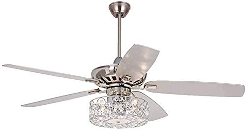 LED Crystal Ceiling Fan Light with Remote Control LED Dimmable Chandelier Light 5 Reversible Blade For Living Room Bedroom US Stock