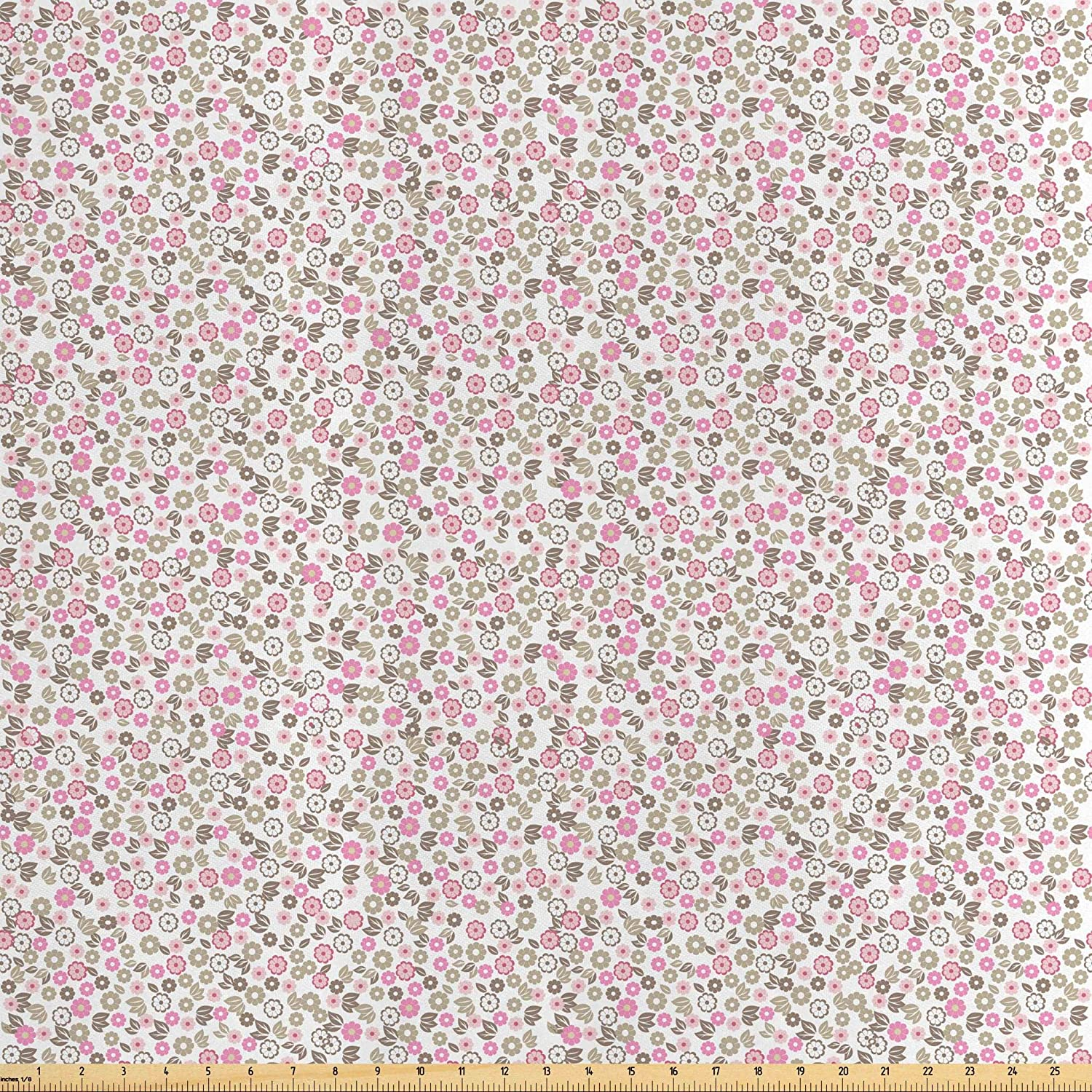 Lunarable Flower Fabric by The Yard, Autumn in The Countryside Wildflowers Herbs Botany Chamomile Design, Decorative Satin Fabric for Home Textiles and Crafts, 1 Yard, Pink Reseda Green