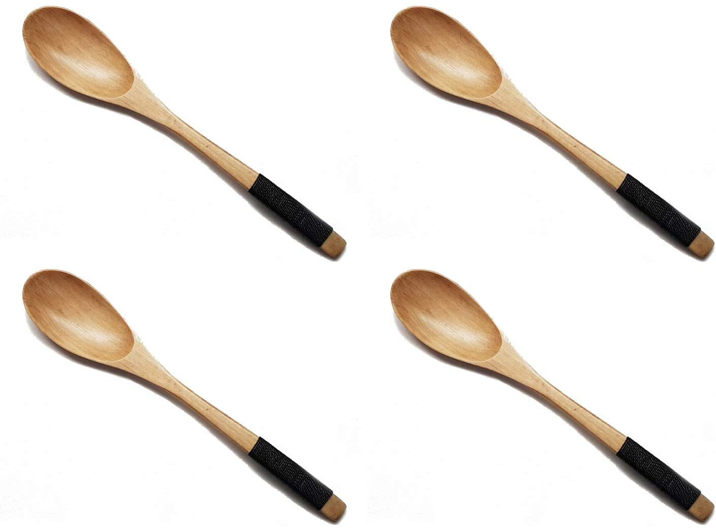 JapanBargain 2685x4, Set of 4 Wooden Dinner Spoons Yogurt Snack Ice Cream Spoons, 7-3/4 inch