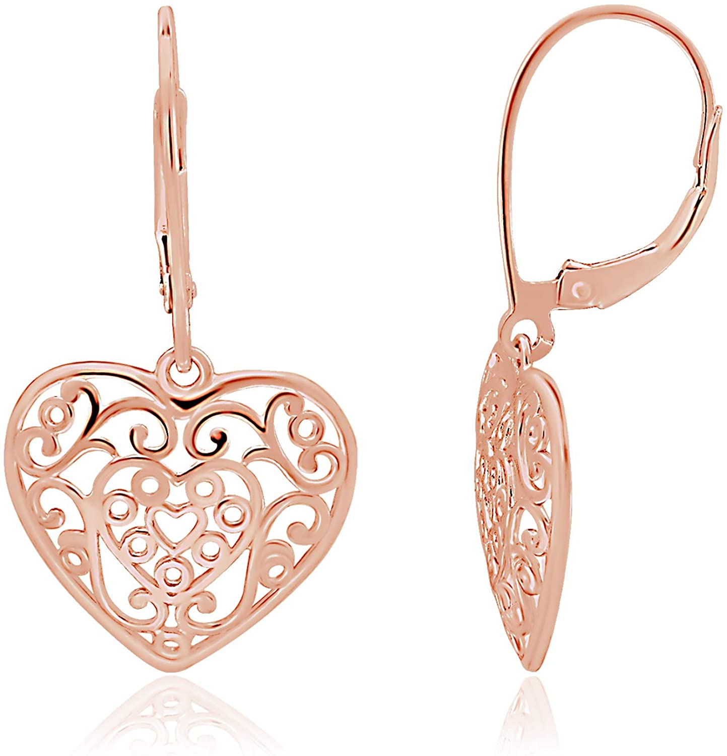 Sterling Silver Heart Drop Dangle Leverback Earrings