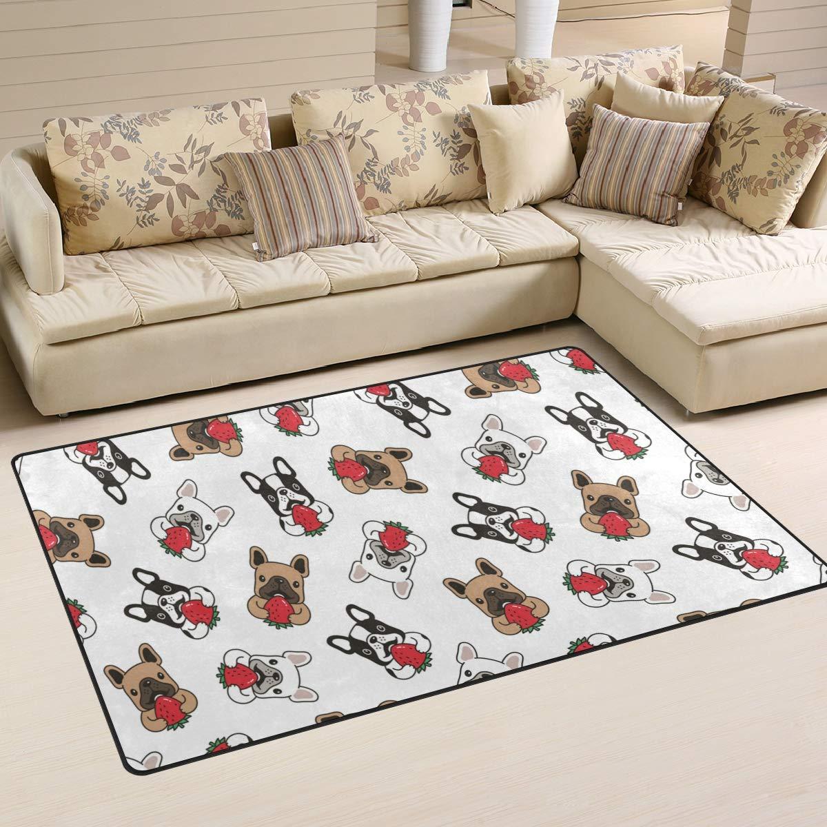 ALAZA Dog French Bulldog Strawberry Cartoon Non Slip Area Rug 2' x 3', Modern Floor Rugs Mat for Living Room Bedroom Dinning Room Home Decor