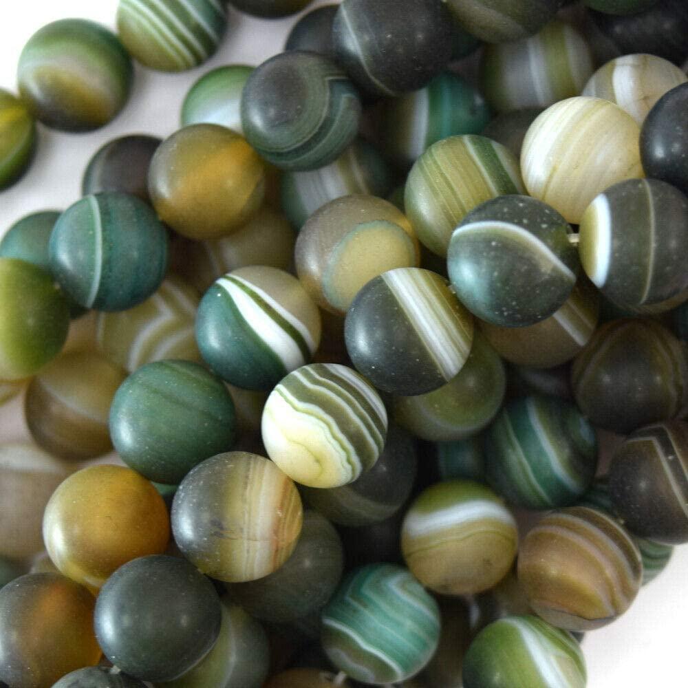 Toyensnow - 10mm Matte Brown Green Stripe Agate Round Beads (15