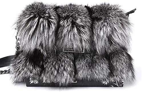 Fur Story Women's Winter Mink Fox Rex rabbit Racoon Leather Shoulder Handbags