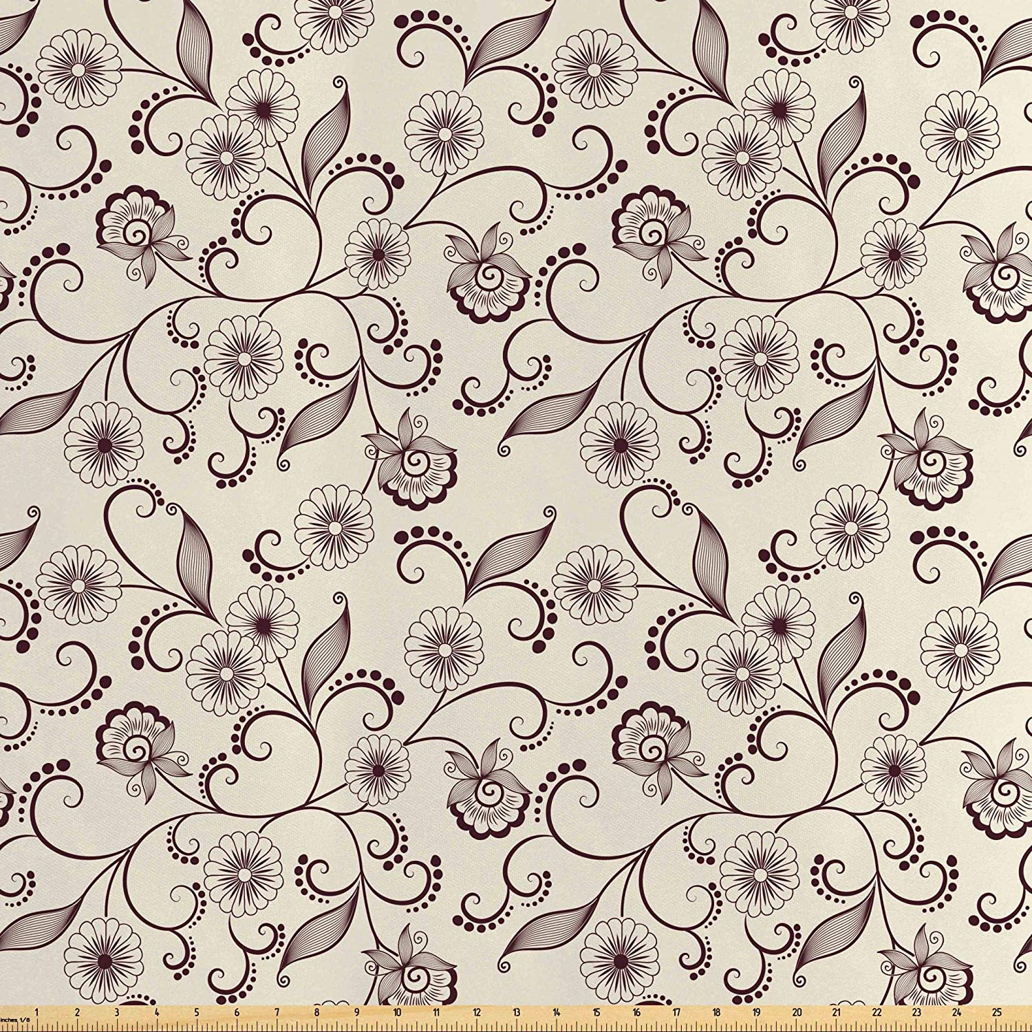 Lunarable Floral Fabric by The Yard, Old Fashioned Flower Patterns with Curving Leaves Elements Nostalgic Shabby Motifs, Decorative Satin Fabric for Home Textiles and Crafts, 3 Yards, Brown Cream