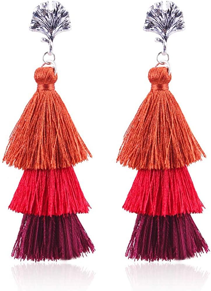 Prettie Bohemian Tassel Earrings Women Girls Colorful Layered Tassel Dangle Earrings Vintage Tiered Long Tassel Drop Boho Earrings Women Gifts