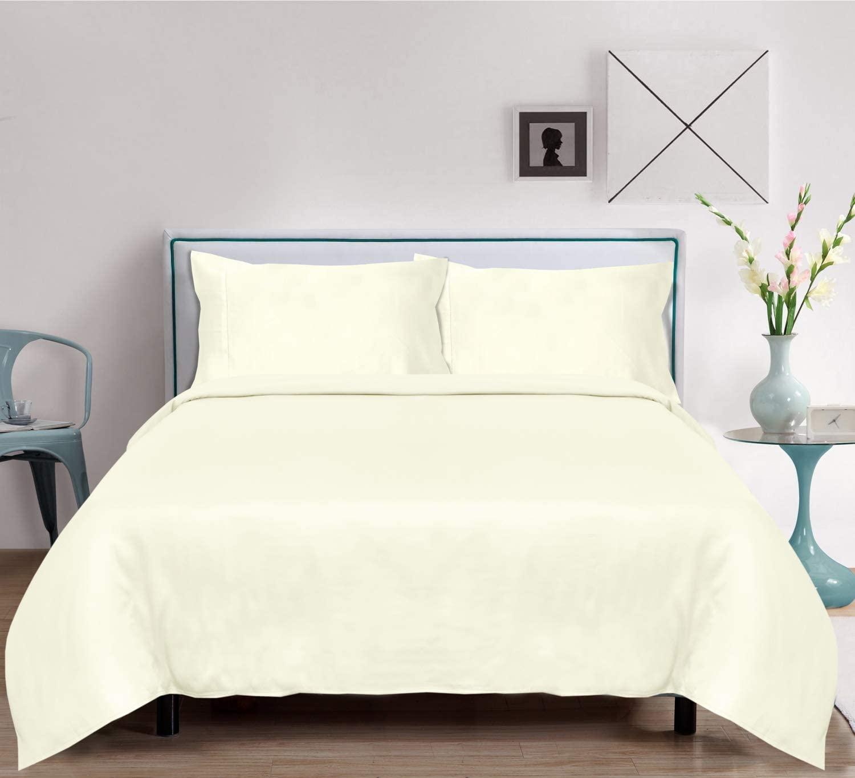 LINENWALAS Organic Bamboo Sheets Set 4 PC - 100% Natural Softest Coolest Bedding (King, Ivory)