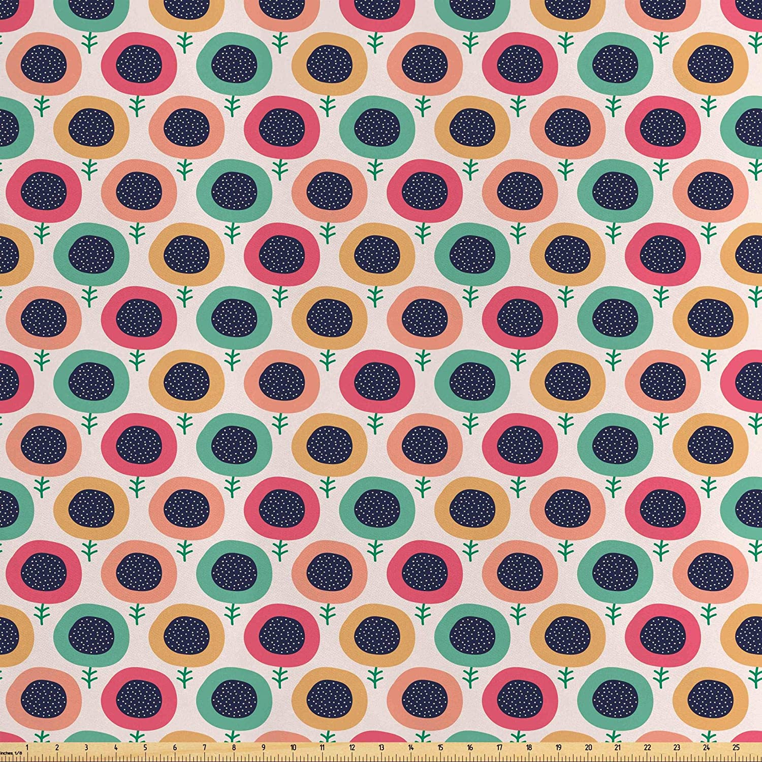 Lunarable Retro Modern Fabric by The Yard, Pastel Colored Absurd Abstract Design of Flowers with Round Dotted Blossoms, Decorative Satin Fabric for Home Textiles and Crafts, 3 Yards, Multicolor