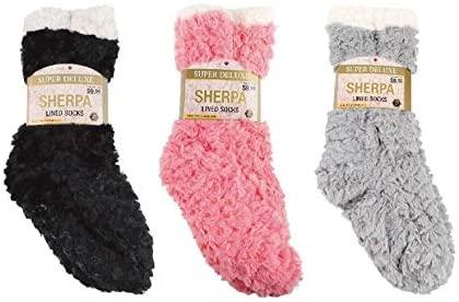 3 Pack Sherpa Slipper Socks Trendy Women Ladies Warm Full Cushion Non-Slip Ultimate Comfort Warmth Sherpa Sock Stocking Stuffer