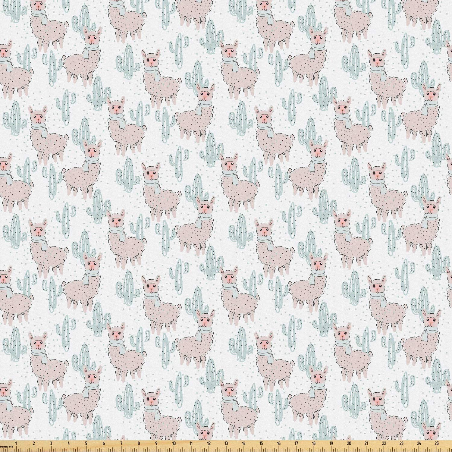 Ambesonne Animal Print Fabric by The Yard, Nursery Cartoon of Llama with Scarf and Cactus, Microfiber Fabric for Arts and Crafts Textiles & Decor, 2 Yards, Pale Eggshell Pale Cadet Blue Blush White
