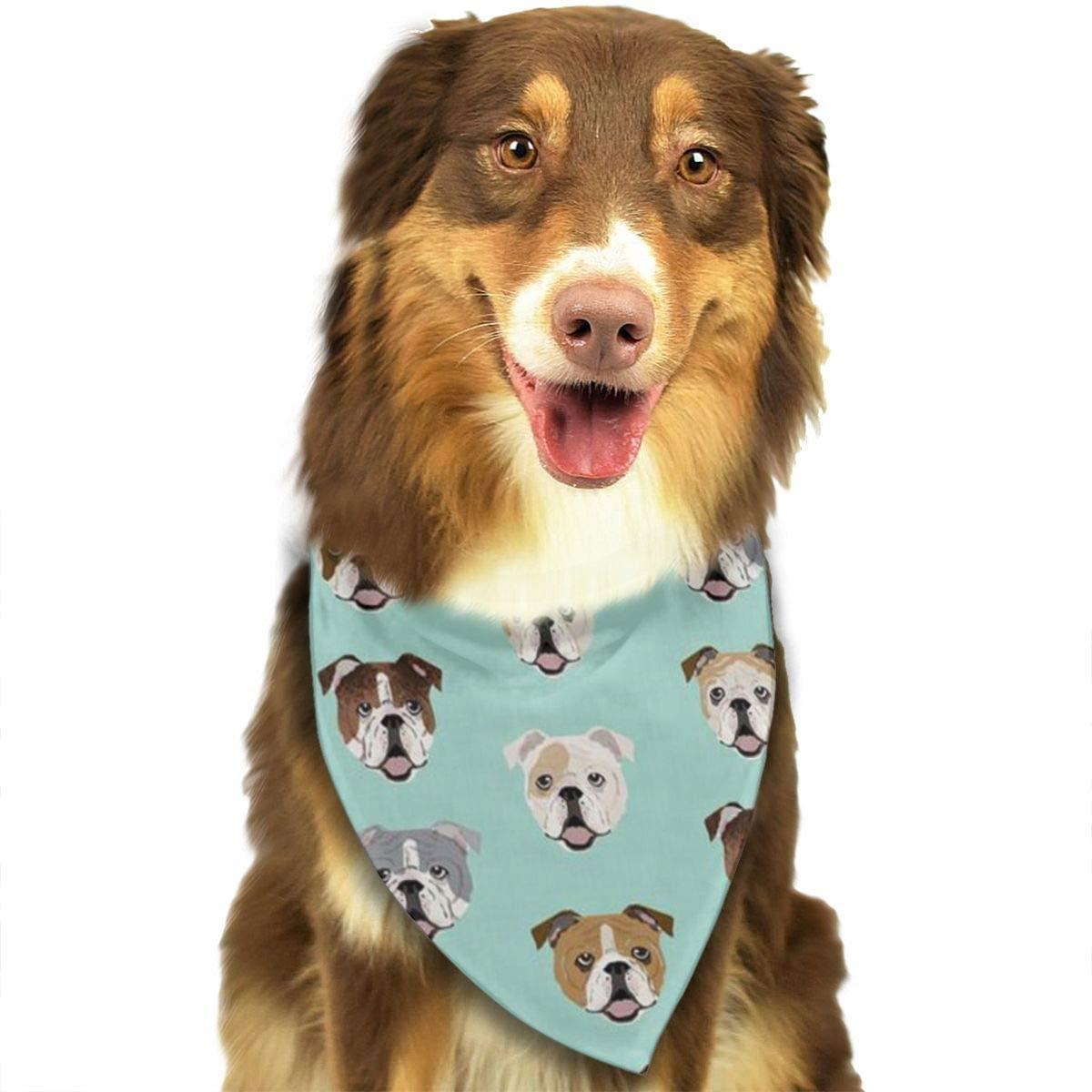 NiYoung Dog Bandana Funny Bulldog Pattern Pet Scarf Triangle Bibs Kerchief Set Pet Costume Accessories Decoration for Small Medium Large Dogs Cats Pets