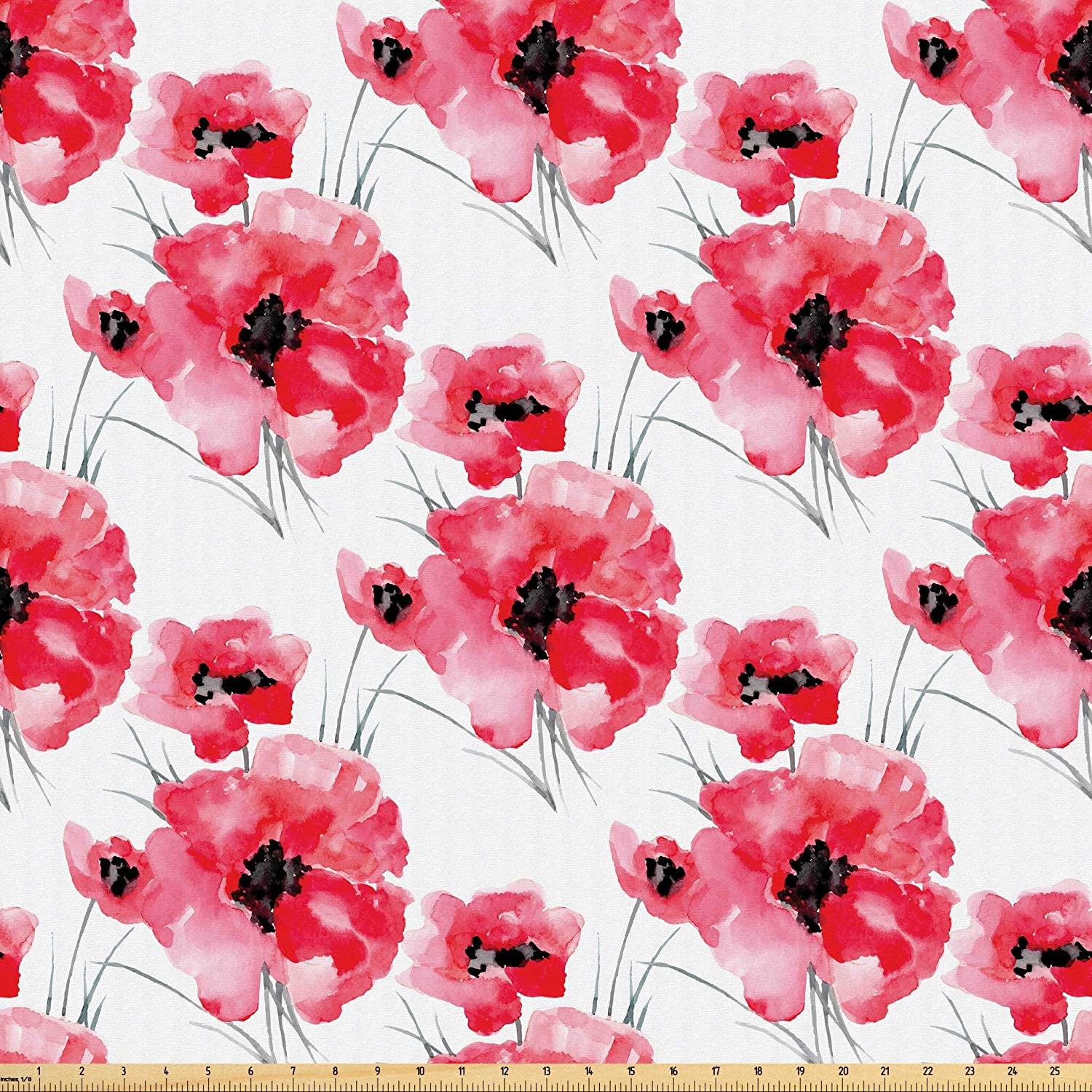 Lunarable Poppy Flower Fabric by The Yard, Watercolor Romantic with Brush Stroke Effect Botany Arrangement, Microfiber Fabric for Arts and Crafts Textiles & Decor, 2 Yards, Dark Coral Black