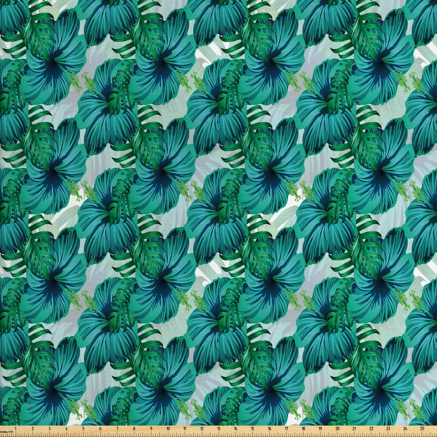 Ambesonne Exotic Fabric by The Yard, Aloha Summer Hibiscus and Tropic Leaves, Decorative Fabric for Upholstery and Home Accents, 1 Yard, Teal Dark Seafoam