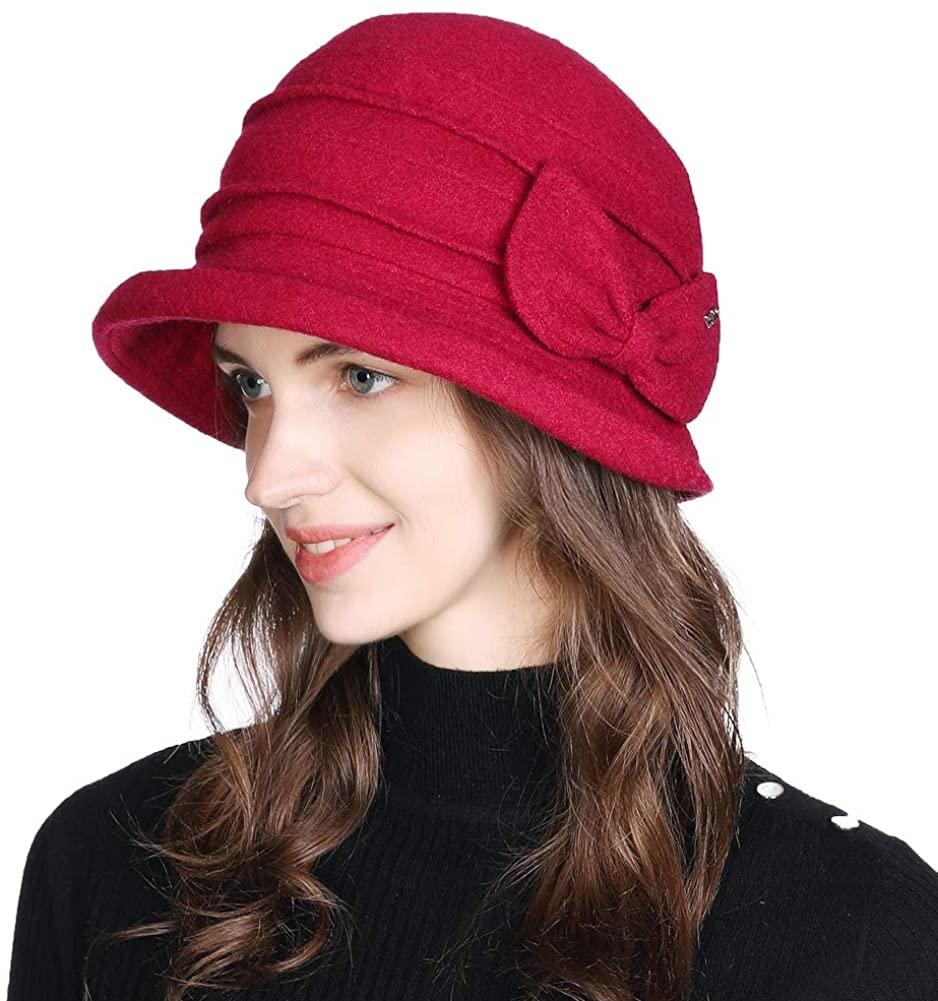 1920 Vintage Cloche Bucket Hat Ladies Church Derby Party Fashion Winter 55-59CM