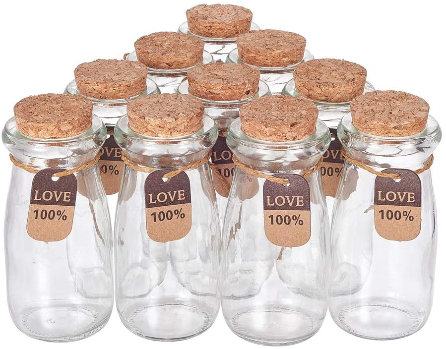 BENECREAT 10 Pack 3.4oz 100ml Glass Favor Jars with Cork Lids, Tags and Strings Glass Milk Bottle-Shaped Jars for Home Party Candy Pudding Snacks Favor Storage Decoration