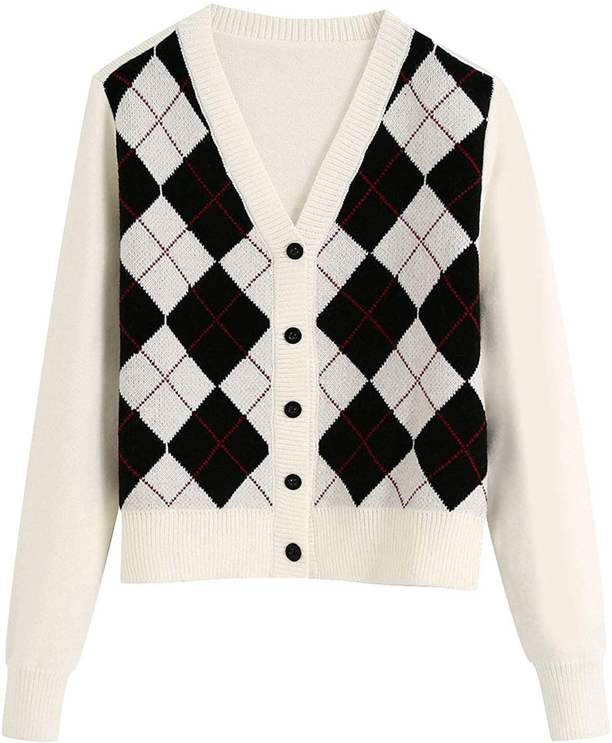 Womens Long Sleeve Argyle Sweater Button Down V-Neck Slim Fit Knitted Cropped Cardigan Tops