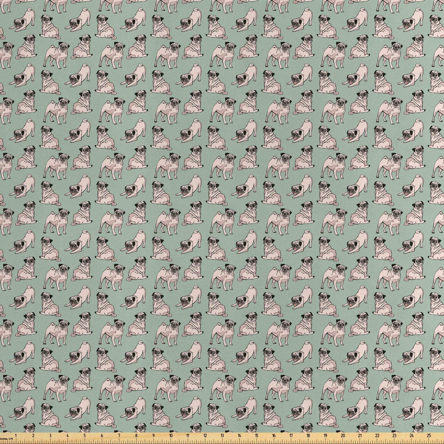 Ambesonne Pug Fabric by The Yard, Dogs with Various States Sitting Standing Stretching Cartoon Style Pet Drawing, Decorative Satin Fabric for Home Textiles and Crafts, Turquoise