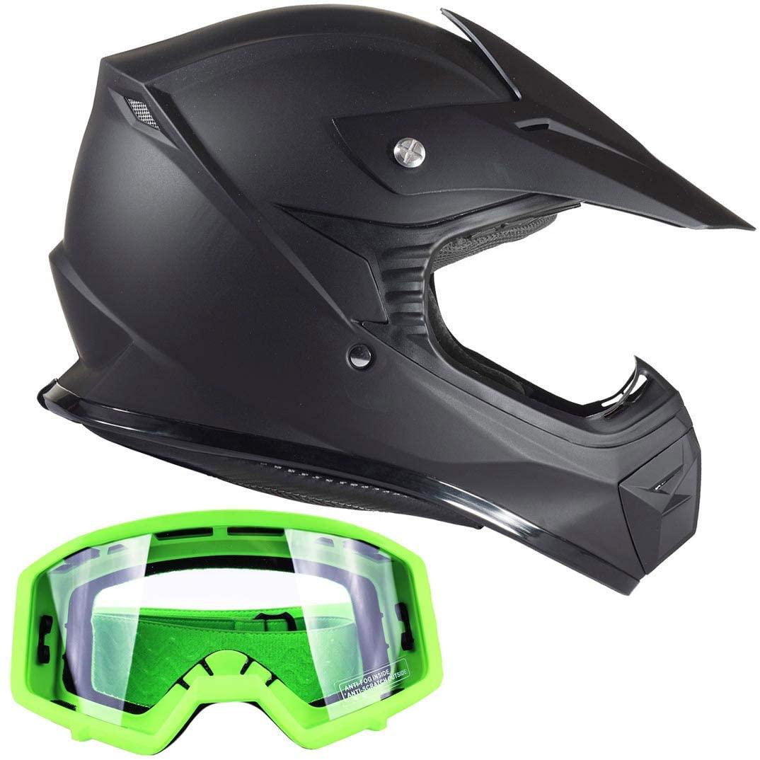 Typhoon Kids Youth Offroad Gear Combo Helmet & Goggles DOT Motocross ATV Dirt Bike MX Motorcycle Green Matte Black (medium)