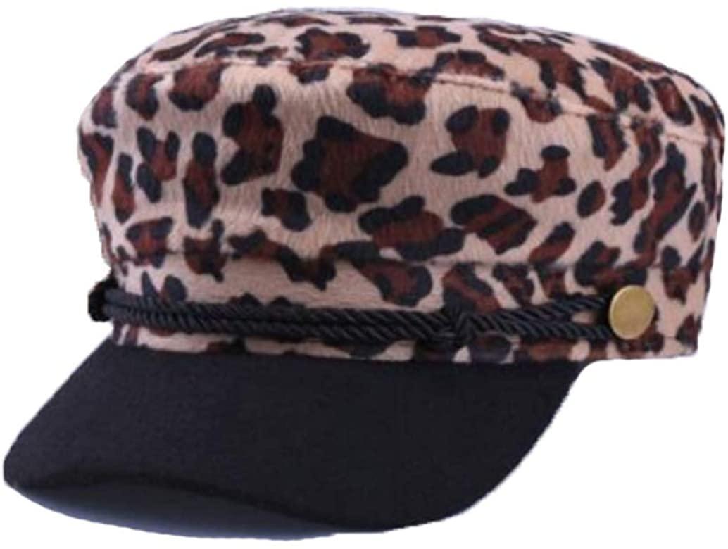 Women Leopard Print Newsboy Cap Spring Autumn Warm Flat Flat Cap British Style Beret Hats