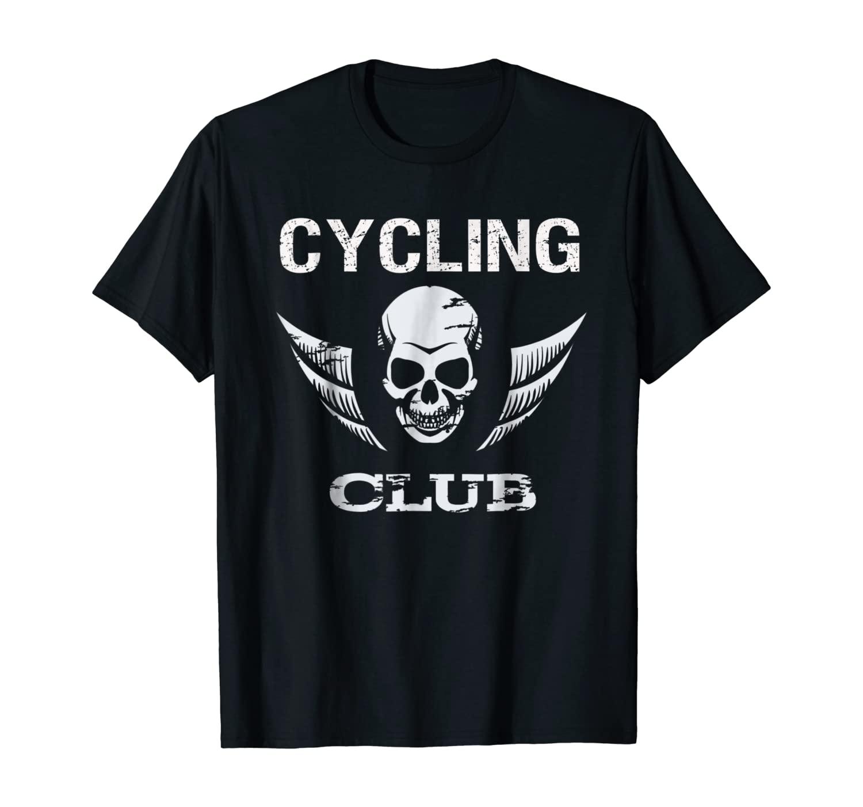 Cycling Club Light Design Skull Logo Funny Bicycle T-shirt