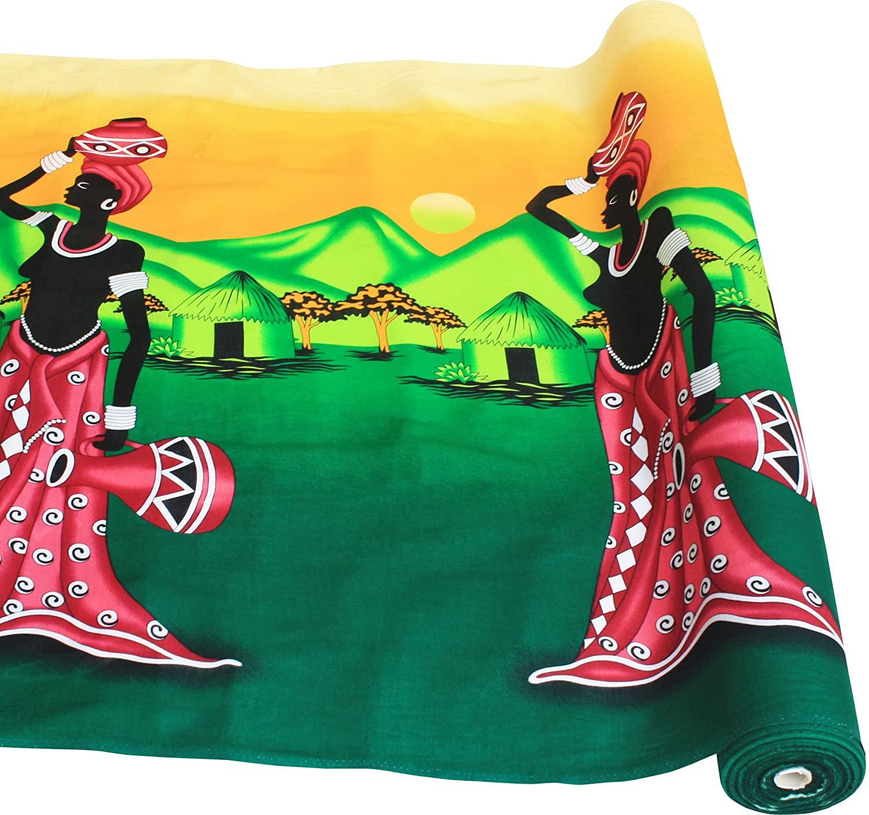Full Funk Viscose Rayon Fabric African Women Art 3 Yard Bolt, Hunter Green/Light Yellow