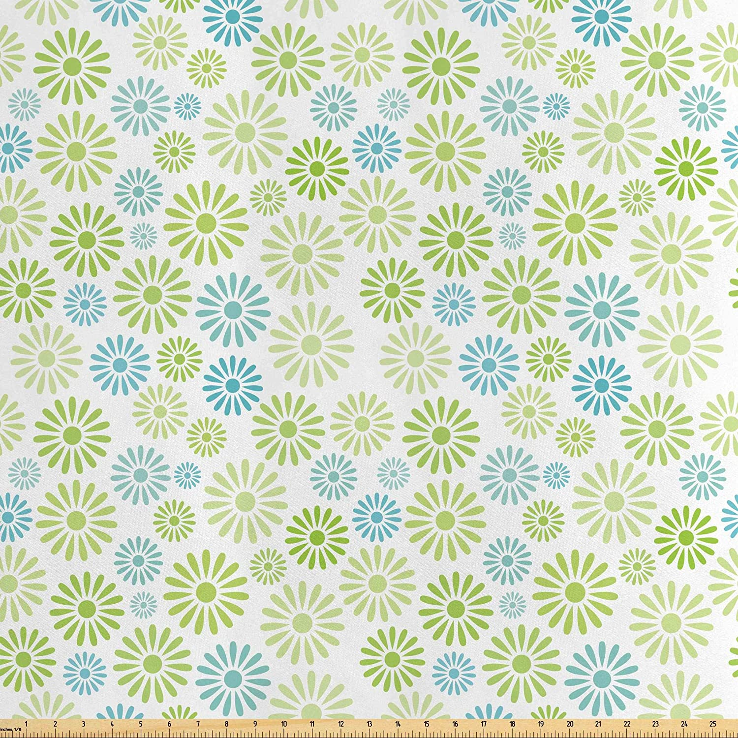Lunarable Flower Fabric by The Yard, Various Colorful Flowers Pattern Cartoon Children Nursery Kindergarten Artwork, Decorative Satin Fabric for Home Textiles and Crafts, 3 Yards, Green Blue White