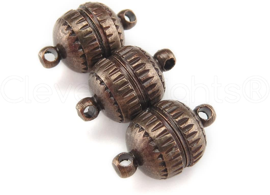 50 Sets - CleverDelights Magnetic Jewelry Clasps - Deco Drum Style - Antique Copper Color