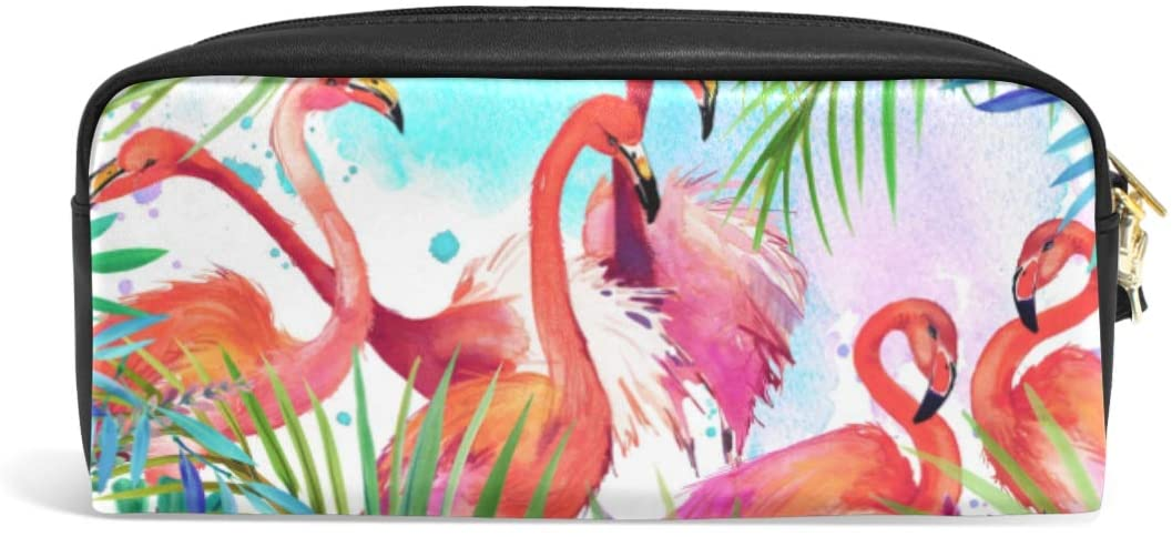 ALAZA Cute Pencil Case Flamingo and Palm Leaves Pen Cases Organizer PU Leather Comestic Makeup Bag Make up Pouch, Back to School Gifts