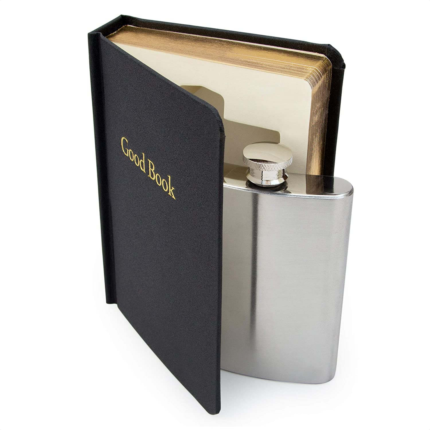 SUCK UK B Secret Hip Women & Men | Small Smuggle Your Booze | Alcohol Holy Water | 4 oz Stainless Steel Flask, Black