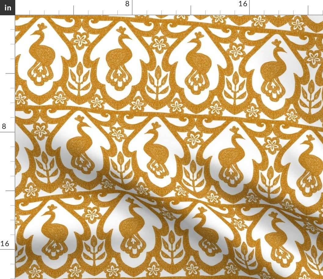 Spoonflower Fabric - Royal Peacock Lace Pattern White Birds Gold Modern Bird Printed on Cotton Poplin Fabric by The Yard - Sewing Shirting Quilting Dresses Apparel Crafts