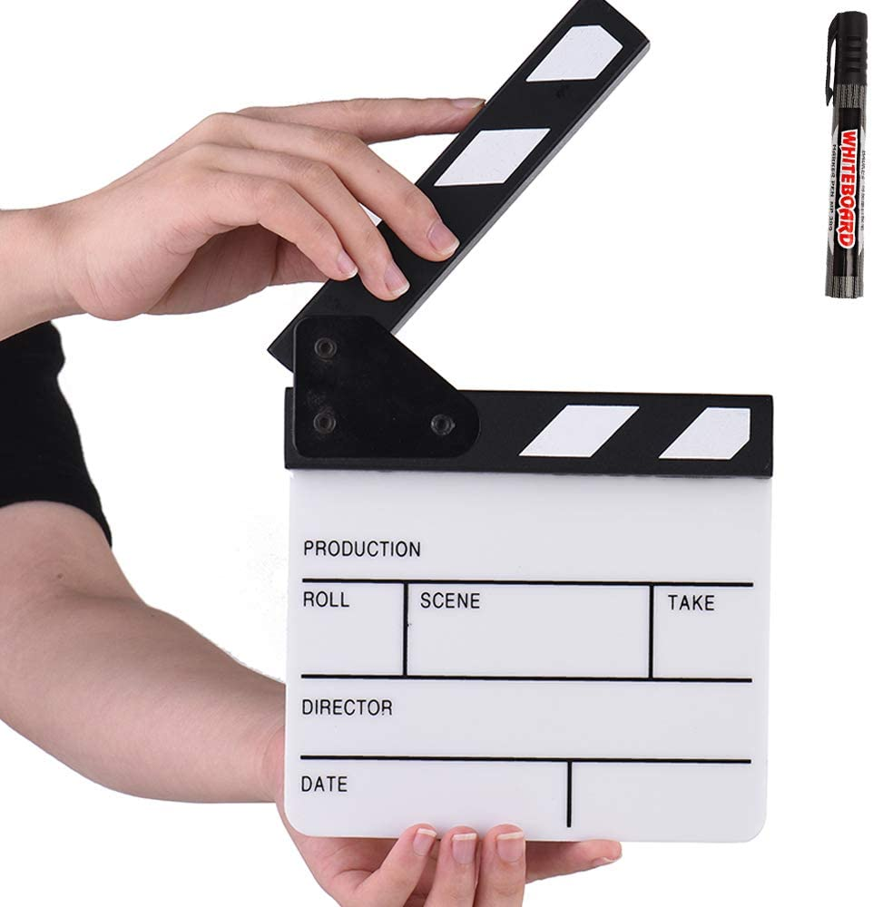 Action Cut Board, Cinnx Acrylic Clapboard with Black Pen Compact Size TV Film Movie Director's Film Clapboard Action Scene Clapper Board Slate