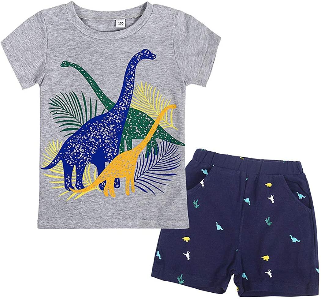 AmzBarley Toddler Boys Clothes Dinosaur Short Sleeve Tee and Shorts Set Kids Cartoon Printed Summer Outfits