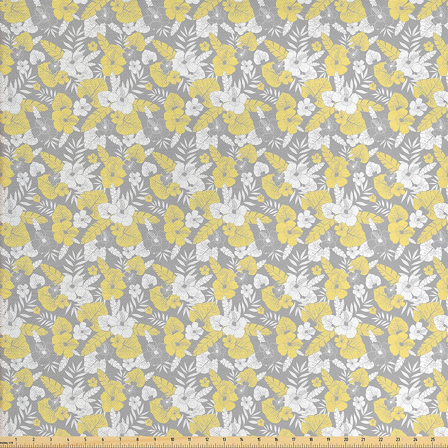 Ambesonne Luau Fabric by The Yard, Hawaiian Vegetation Flowers Abstract Summertime Botanical Composition, Decorative Fabric for Upholstery and Home Accents, Pale Yellow Pale Grey White